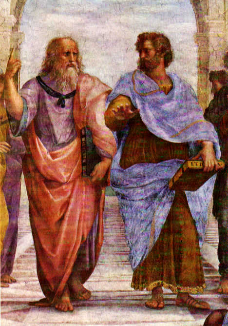 In the center of the `School of Athens by Raphael are Aristotle and Plato, Aristotles hand level to the Earth symbolizing his realism view of Nature; Platos hand pointed towards the heaven symbolizing the mystical nature to his view of the Universe. This image symbols the sharp change in the meaning of how `natural philosophy or physics will be done for the 2,200 years.